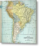 South America: Map, C1890 Metal Print