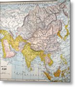Asia Map Late 19th Century Metal Print