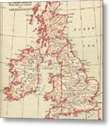 Map: British Isles, C1890 Metal Print