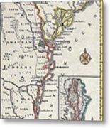 Map: North America, C1700 Metal Print