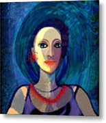 066 Woman With Red Necklace Av Metal Print