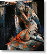 073 Weeping Lady F.w. Blanchard Grave Monument- Hollywood Forever Cemetery Metal Print