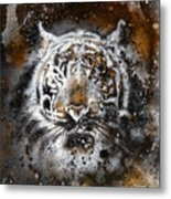 Tiger Collage On Color Abstract  Background  Rust Structure Wildlife Animals Metal Print