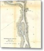 1865 Uscs Map Of The Mississippi River 78 To 98 Miles Above Cairo Illinois Metal Print