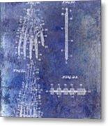 1911 Mechanical Skeleton Patent Blue Metal Print