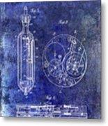 1913 Pocket Watch Patent Blue Metal Print