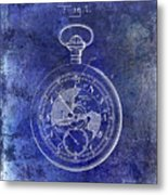 1916 Pocket Watch Patent Blueprint Metal Print
