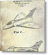1956 Jet Airplane Patent 2 Blue Metal Print