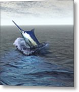 A Blue Marlin Bursts From The Ocean Metal Print