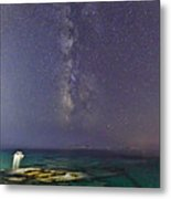 A Boat Under The Milky Way In Andros - Greece Metal Print