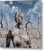 A Broken Down Petrified Android Robot Metal Print