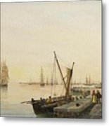 A Busy Harbour Metal Print