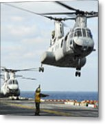 A Ch-46e Sea Knight Helicopter Takes Metal Print