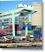 A Container Is Loaded In Kaohsiung Port Metal Print