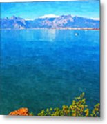 A Digitally Constructed Painting Of A Small Fishing Boat  With Snow Covered Mountains In Antalya Turkey Metal Print