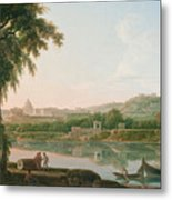 A Distant View Of Rome Across The Tiber Metal Print