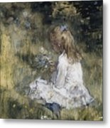 A Girl With Flowers On The Grass Metal Print