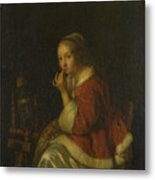 A Lady At A Spinning Wheel Metal Print