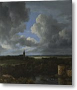 A Landscape With A Ruined Castle And A Church Metal Print