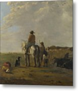 A Landscape With Horseman Herders And Cattle Metal Print