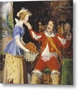 A Maid Offering A Basket Of Fruit To A Cavalier Metal Print