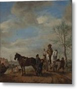 A Man And A Woman On Horseback Metal Print