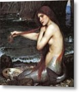 A Mermaid John William Waterhouse Metal Print
