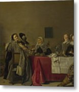 A Merry Company At Table Metal Print