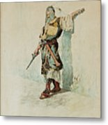 A Moorish Soldier Before A Sunlit Wall Metal Print