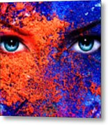 A Pair Of Beautiful Blue Women Eyes Beaming Color Earth Effect Painting Collage Violet Makeup Metal Print