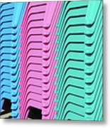 A Rainbow Of Chairs Metal Print