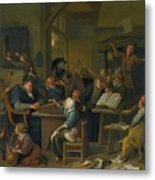 A Riotous Schoolroom With A Snoozing Schoolmaster Metal Print