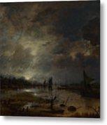 A River Near A Town By Moonlight Metal Print