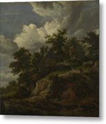 A Rocky Hill With Three Cottages A Stream At Its Foot Metal Print