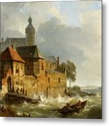 A Rowing Boat In Stormy Seas Near A City Metal Print