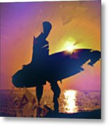 A Surfer Watching The Waves At Sunset Metal Print