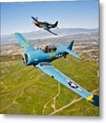 A T-6 Texan And P-51d Mustang In Flight Metal Print