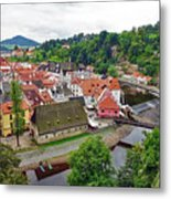 A View Overlooking The Vltava River And Cesky Krumlov In The Czech Republic Metal Print