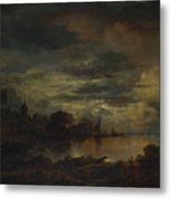 A Village By A River In Moonlight Metal Print