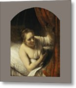 A Woman In Bed Metal Print