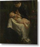 A Young Woman Nursing A Baby Metal Print