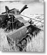 Abondoned Combine In Tall Grass Metal Print
