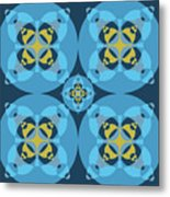 Abstract Mandala Cyan, Dark Blue And Yellow Pattern For Home Decoration Metal Print