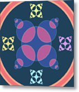 Abstract Mandala Pink, Dark Blue And Cyan Pattern For Home Decoration Metal Print