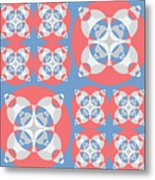 Abstract Mandala White, Pink And Blue Pattern For Home Decoration Metal Print