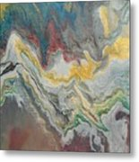 Abstract Pour Metal Print by Sonya Wilson