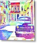 Abstract Watercolor - Havana Cuba Classic Car IIi Metal Print