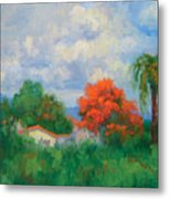 Acacias And Red Roofs Metal Print