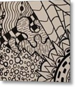 Aceo Zentangle Abstract Design Metal Print