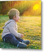 Adorable Baby Playing Outdoors Metal Print